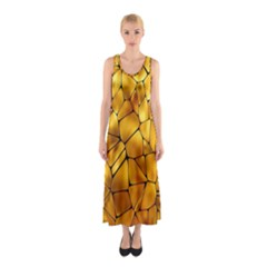 Gold Sleeveless Maxi Dress by Mariart