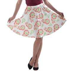 Flower Floral Red Star Sunflower A Line Skater Skirt by Mariart