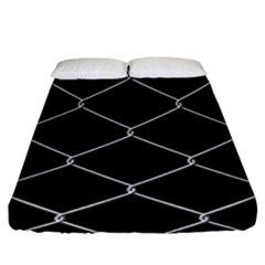 Iron Wire White Black Fitted Sheet (king Size) by Mariart