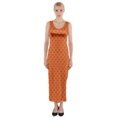 Heart Orange Love Fitted Maxi Dress