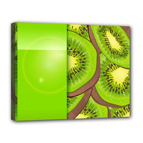 Fruit Slice Kiwi Green Canvas 14  X 11  by Mariart
