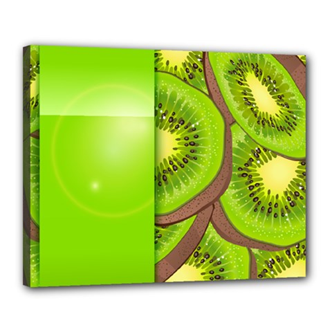 Fruit Slice Kiwi Green Canvas 20  X 16  by Mariart