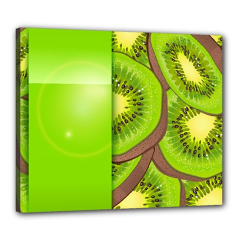 Fruit Slice Kiwi Green Canvas 24  X 20  by Mariart