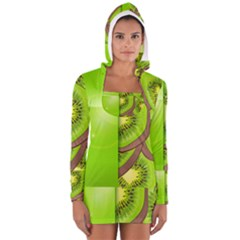 Fruit Slice Kiwi Green Women s Long Sleeve Hooded T Shirt by Mariart
