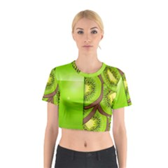 Fruit Slice Kiwi Green Cotton Crop Top by Mariart
