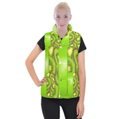 Fruit Slice Kiwi Green Women s Button Up Puffer Vest by Mariart