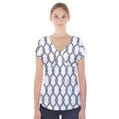 Iron Wire Black White Short Sleeve Front Detail Top by Mariart