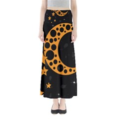 Moon Star Space Orange Black Light Night Circle Polka Maxi Skirts by Mariart