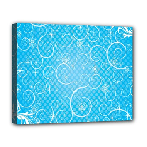 Leaf Blue Snow Circle Polka Star Deluxe Canvas 20  X 16   by Mariart