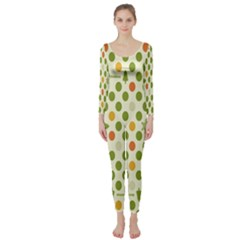 Merry Christmas Polka Dot Circle Snow Tree Green Orange Red Gray Long Sleeve Catsuit