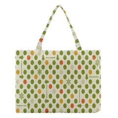 Merry Christmas Polka Dot Circle Snow Tree Green Orange Red Gray Medium Tote Bag by Mariart