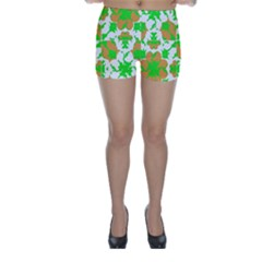 Graphic Floral Seamless Pattern Mosaic Skinny Shorts