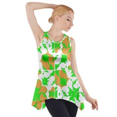Graphic Floral Seamless Pattern Mosaic Side Drop Tank Tunic