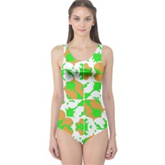 Graphic Floral Seamless Pattern Mosaic One Piece Swimsuit by dflcprintsclothing