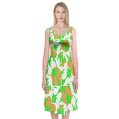 Graphic Floral Seamless Pattern Mosaic Midi Sleeveless Dress by dflcprintsclothing