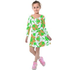 Graphic Floral Seamless Pattern Mosaic Kids  Long Sleeve Velvet Dress
