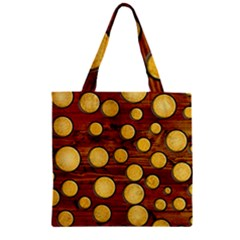 Wood And Gold Zipper Grocery Tote Bag