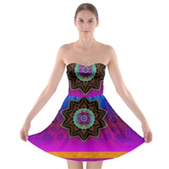 Air And Stars Global With Some Guitars Pop Art Strapless Bra Top Dress