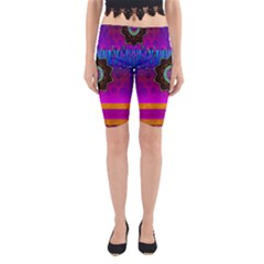 Air And Stars Global With Some Guitars Pop Art Yoga Cropped Leggings by pepitasart