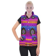 Air And Stars Global With Some Guitars Pop Art Women s Button Up Puffer Vest by pepitasart