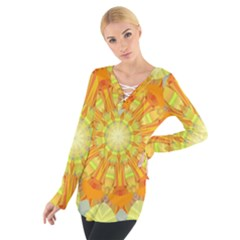Sunshine Sunny Sun Abstract Yellow Women s Tie Up Tee