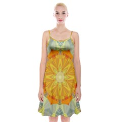 Sunshine Sunny Sun Abstract Yellow Spaghetti Strap Velvet Dress