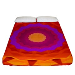 Mandala Orange Pink Bright Fitted Sheet (king Size) by Nexatart