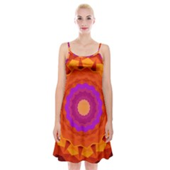 Mandala Orange Pink Bright Spaghetti Strap Velvet Dress