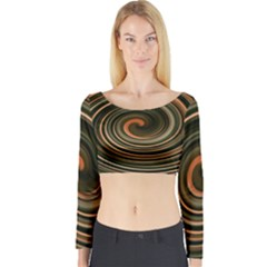 Strudel Spiral Eddy Background Long Sleeve Crop Top