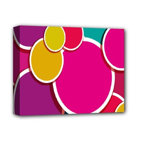 Paint Circle Red Pink Yellow Blue Green Polka Deluxe Canvas 14  X 11  by Mariart