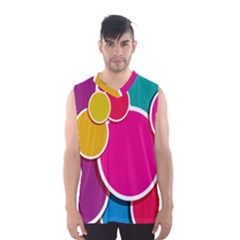 Paint Circle Red Pink Yellow Blue Green Polka Men s Basketball Tank Top by Mariart