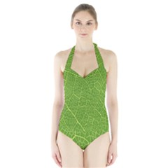 Green Leaf Line Halter Swimsuit by Mariart