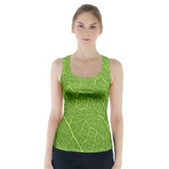 Green Leaf Line Racer Back Sports Top by Mariart