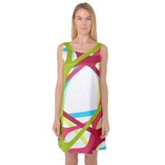 Nets Network Green Red Blue Line Sleeveless Satin Nightdress by Mariart