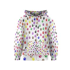 Paw Prints Dog Cat Color Rainbow Animals Kids  Zipper Hoodie by Mariart