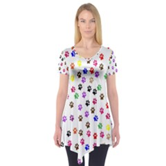 Paw Prints Dog Cat Color Rainbow Animals Short Sleeve Tunic  by Mariart
