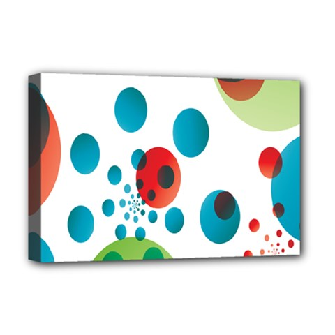 Polka Dot Circle Red Blue Green Deluxe Canvas 18  X 12   by Mariart