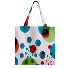 Polka Dot Circle Red Blue Green Zipper Grocery Tote Bag by Mariart