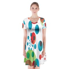 Polka Dot Circle Red Blue Green Short Sleeve V Neck Flare Dress by Mariart