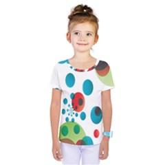 Polka Dot Circle Red Blue Green Kids  One Piece Tee