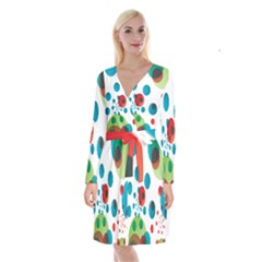 Polka Dot Circle Red Blue Green Long Sleeve Velvet Front Wrap Dress