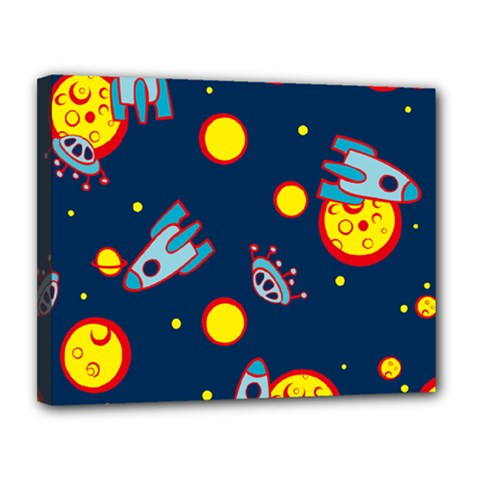 Rocket Ufo Moon Star Space Planet Blue Circle Canvas 14  X 11  by Mariart