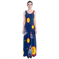 Rocket Ufo Moon Star Space Planet Blue Circle Sleeveless Maxi Dress