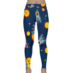Rocket Ufo Moon Star Space Planet Blue Circle Classic Yoga Leggings by Mariart