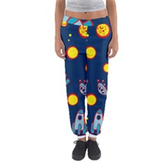 Rocket Ufo Moon Star Space Planet Blue Circle Women s Jogger Sweatpants by Mariart