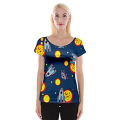 Rocket Ufo Moon Star Space Planet Blue Circle Women s Cap Sleeve Top by Mariart