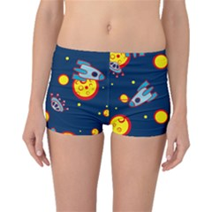 Rocket Ufo Moon Star Space Planet Blue Circle Boyleg Bikini Bottoms by Mariart