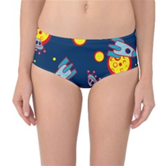 Rocket Ufo Moon Star Space Planet Blue Circle Mid-waist Bikini Bottoms by Mariart