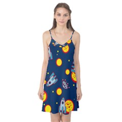 Rocket Ufo Moon Star Space Planet Blue Circle Camis Nightgown by Mariart
