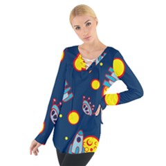 Rocket Ufo Moon Star Space Planet Blue Circle Women s Tie Up Tee by Mariart